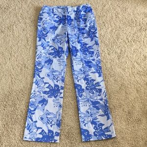 Lilly Pulitzer Size 8 Blue Tiger Lily Print Pants